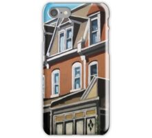 """""""City Row Houses"""" - city buildings oil painting iPhone Case/Skin"""