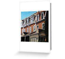 """""""City Row Houses"""" - city buildings oil painting Greeting Card"""