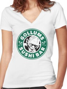 Gollums Sushi Bar Women's Fitted V-Neck T-Shirt