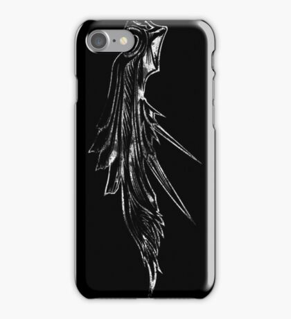 Sephiroth's wing grunge white iPhone Case/Skin