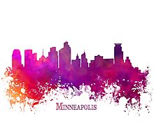 Minneapolis Skyline City purple Photographic Print