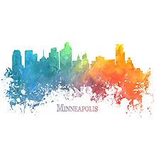 Minneapolis Skyline City colored Photographic Print