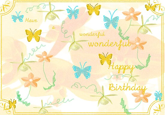 Butterflies and Flowers Birthday Card by Rosalie Scanlon