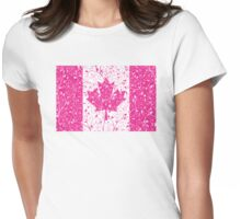 Pink Floral Canadian Flag Womens Fitted T-Shirt