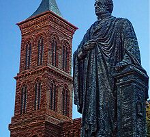 Smithsonian Castle & Joseph Henry Statue by Tamara Valjean