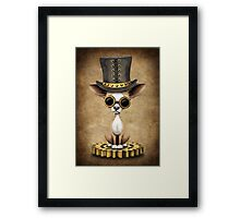 Cute Steampunk Chihuahua Puppy Dog Framed Print
