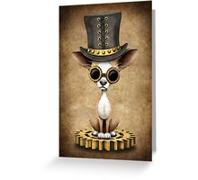 Cute Steampunk Chihuahua Puppy Dog Greeting Card