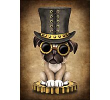 Cute Steampunk Pug Puppy Dog Photographic Print