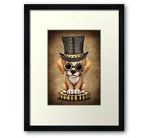 Cute Steampunk Golden Retriever Puppy Dog Framed Print