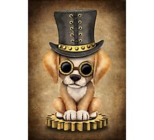 Cute Steampunk Golden Retriever Puppy Dog Photographic Print
