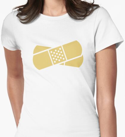 Crossed band-aids Womens Fitted T-Shirt