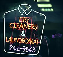Dry cleaners and Laundromat Neon Sign in NYC by Reinvention