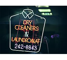 Dry cleaners and Laundromat Neon Sign in NYC Photographic Print