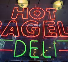 Hot Bagels Deli neon sign in New York City  by Reinvention