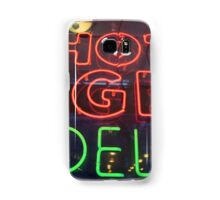 Hot Bagels Deli neon sign in New York City  Samsung Galaxy Case/Skin