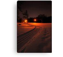 Ski Trail at Night Canvas Print