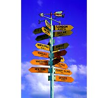 Signboard of directions to different Cities of the world Photographic Print