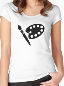 Painter palette brush Women's Fitted Scoop T-Shirt