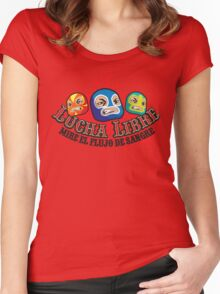 Mexican Wrestlers... Watch the blood flow Women's Fitted Scoop T-Shirt