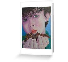 Fledglings, boy with bird Greeting Card