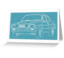 1970 Ford Escort RS2000 Fast and Furious Paul Walker's car White Outline no fill. Greeting Card
