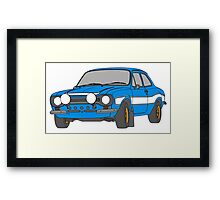 1970 Ford Escort RS2000 Fast and Furious Paul Walker's car Black Outline Colour fill. Framed Print