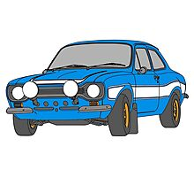 1970 Ford Escort RS2000 Fast and Furious Paul Walker's car Black Outline Colour fill. Photographic Print