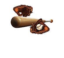 Baseball Mitt Bat and Ball Photographic Print
