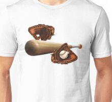 Baseball Mitt Bat and Ball Unisex T-Shirt