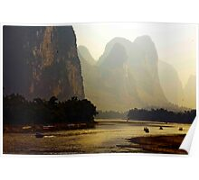 Boats At The River Li Bend Poster