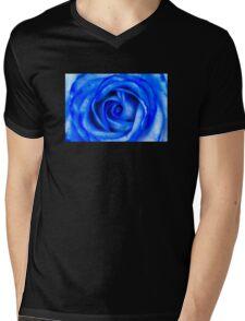 Abstract Macro Blue Rose Mens V-Neck T-Shirt