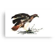 Hawk with flowers for his honey. Canvas Print