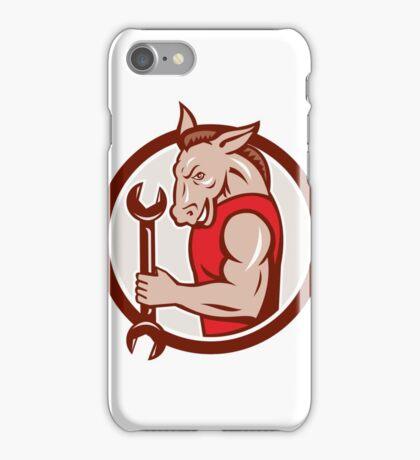 Donkey Mechanic Spanner Mascot Circle Retro iPhone Case/Skin