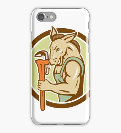 Donkey Plumber Monkey Wrench Circle Retro iPhone Case/Skin