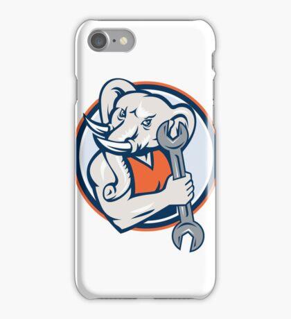 Elephant Mechanic Spanner Mascot Circle Retro iPhone Case/Skin