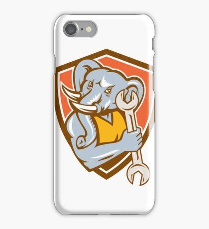Elephant Mechanic Spanner Mascot Shield Retro iPhone Case/Skin