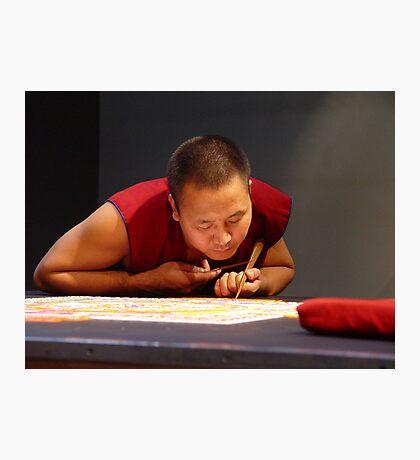 Tibetan monk creating sand mandala Photographic Print