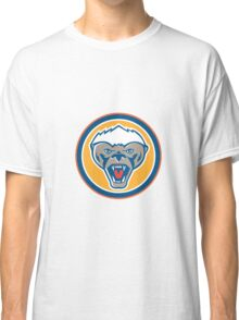 Honey Badger Mascot Head Circle Retro Classic T-Shirt