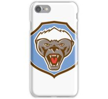 Honey Badger Mascot Head Shield Retro iPhone Case/Skin