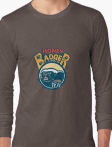Honey Badger Mascot Claw Circle Retro Long Sleeve T-Shirt