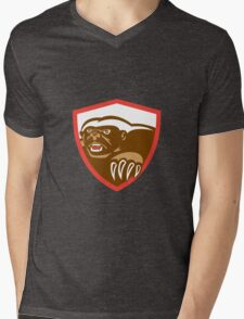 Honey Badger Claws Side Shield Retro Mens V-Neck T-Shirt