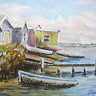 Fishing shacks, Kororoit Creek, Williamstown by Virginia  Coghill