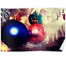Aged Christmas Ornaments Poster