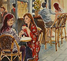 Coffee break, Block Place, Melbourne (1a) by Virginia  Coghill