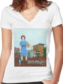 Wind Farmer rural girl Women's Fitted V-Neck T-Shirt