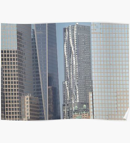 Frank Gehry Apartment Building, 8 Spuce Street, View From Jersey City, New Jersey Poster
