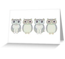 Double Dogs and Owls Blue Greeting Card