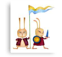 Brave funny rabbits guard Canvas Print