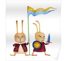 Brave funny rabbits guard Poster