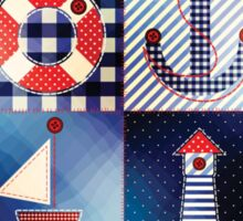Nautical Red White and Blue Patchwork Quilt Pattern Sticker